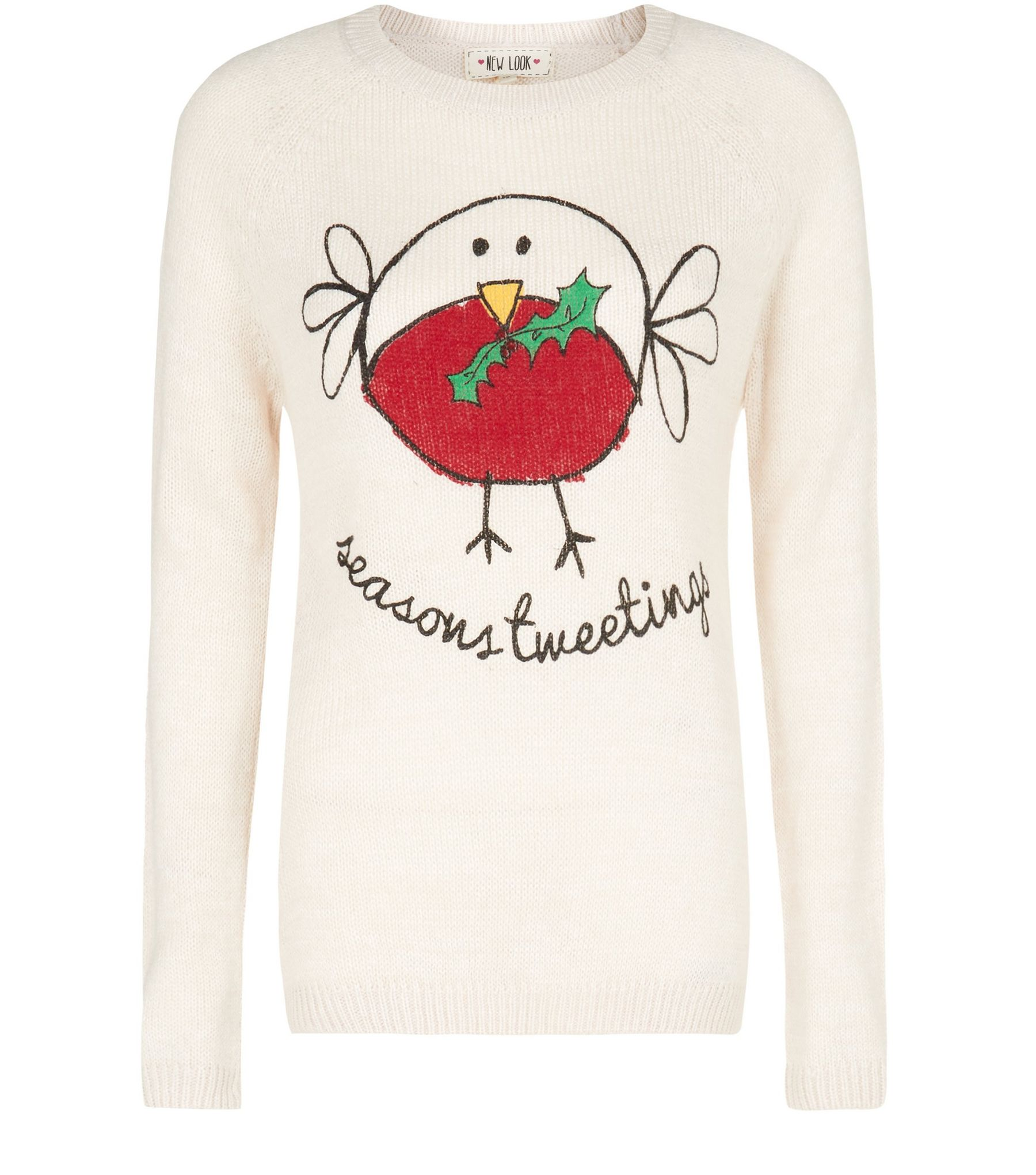 Cream Seasons Tweetings Robin Christmas Jumper | New Look
