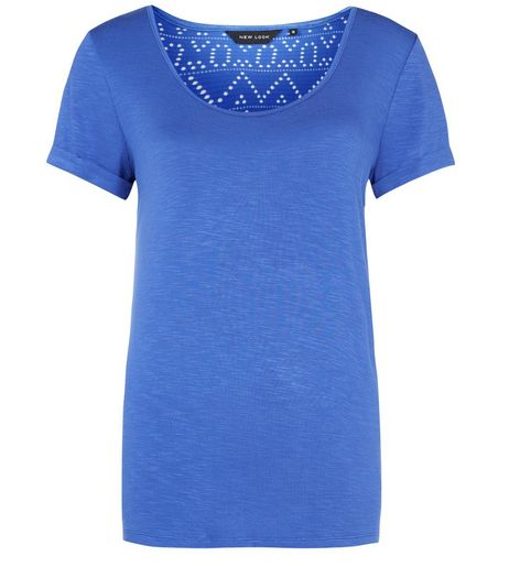 Blue Aztec Lace Back T-Shirt | New Look