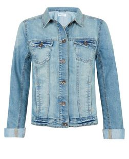 Light Blue Faded Denim Jacket  | New Look