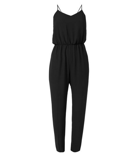 Petite Black V Neck Strappy Jumpsuit | New Look