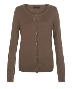 Tall Khaki Basic Crew Neck Cardigan | New Look