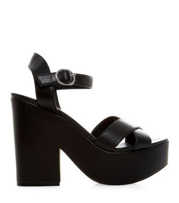 Sandalo  donna Black Chunky Cross Strap Heels