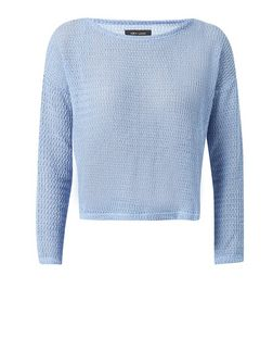 Pale Blue Fine Knit Long Sleeve Crop Top  | New Look