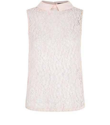 Shel Pink Collared Corded Lace Boxy Shell Top | New Look