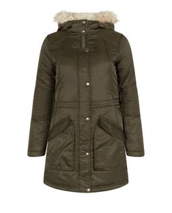 Khaki Padded Faux Fur Trim Hooded Parka  | New Look