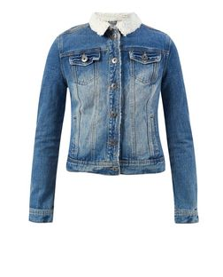 Blue Contrast Faux Shearling Collar Denim Jacket | New Look