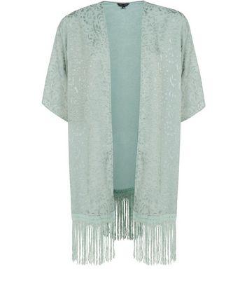 Product photo of Mint green burnout fringed hem longline kimono