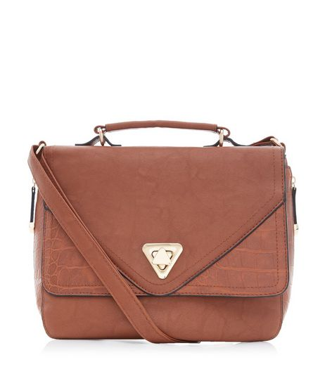 Tan Double Flap Contrast Panel Satchel | New Look