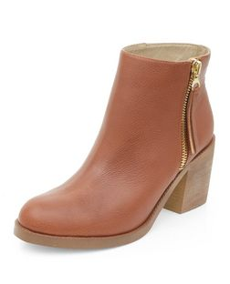 Wide Fit Tan Leather Zip Side Shoe Boots  | New Look