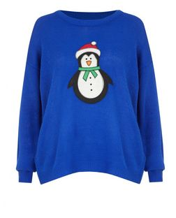 Brave Soul Blue Snowman Christmas Jumper  | New Look
