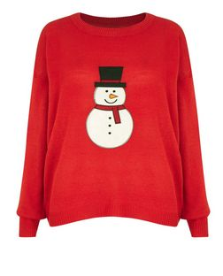 Brave Soul Red Snowman Christmas Jumper  | New Look
