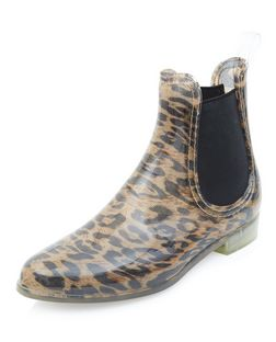 Leopard Print Chelsea Wellies  | New Look