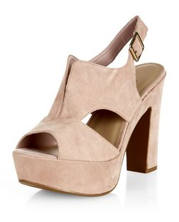 Wide Fit Stone Cut Out Split Front Chunky Heels | New Look