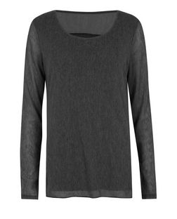 Misumi Dark Grey Fine Knit Split Back Top | New Look