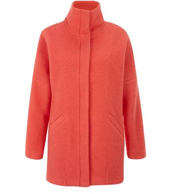 Coral Wool Mix Funnel Neck Coat