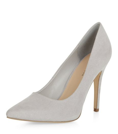 Pale Grey Pointed Court Shoes  | New Look
