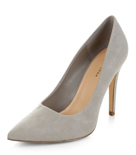 Grey Pointed Court Shoes | New Look