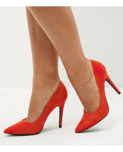 Red Pointed Court Shoes  | New Look