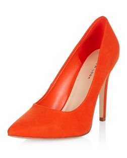 Bright Orange Pointed Court Shoes  | New Look