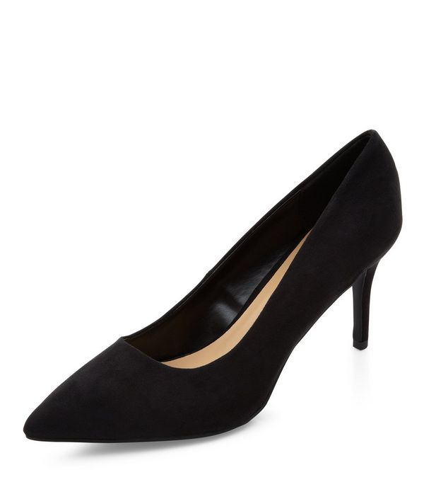 Black Pointed Mid Heels