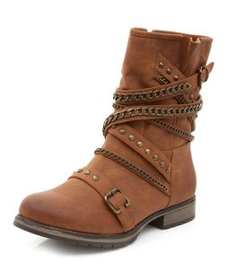 Tan Multi Chain Biker Boots  | New Look