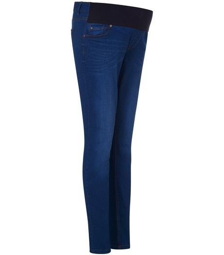 Maternity Blue Authentic Underbump Skinny Jeans  | New Look