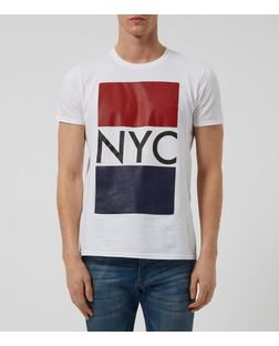 White NYC Contrast T-Shirt | New Look