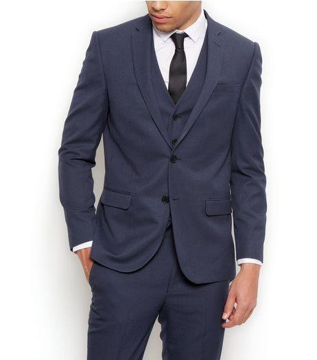 Blue Slim Fit Suit Jacket  | New Look