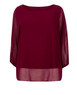 Koko Burgundy Bow Necklace Top  | New Look