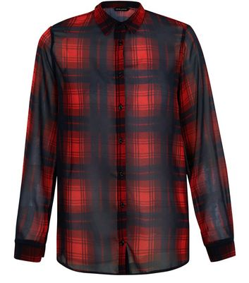 Red Chiffon Check Long Sleeve Shirt