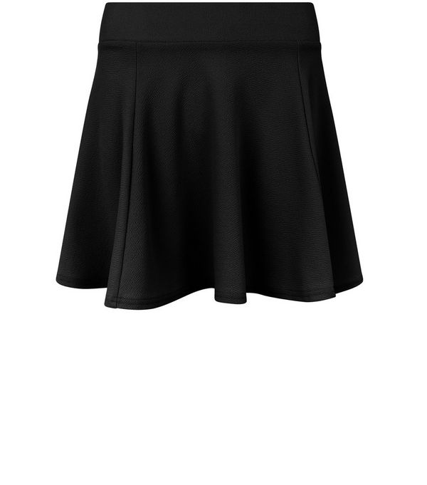 Black High Waisted Skater Skirt