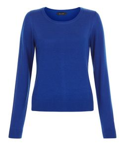 Blue Popper Back Jumper | New Look