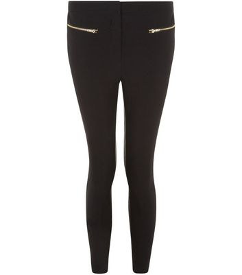 Petite 26in Black Slim Leg Double Zip Front Trousers