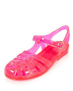 Teens Pink Caged Jelly Sandals | New Look
