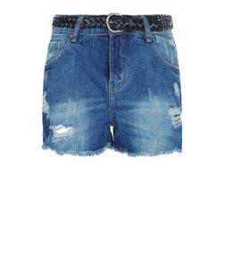 Blue Denim Ripped Belted Mom Shorts  | New Look