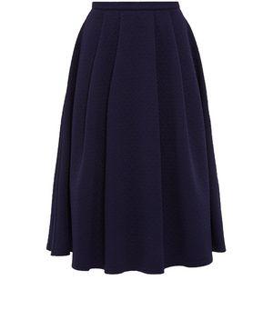 navy jersey pleated midi skirt