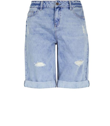Curves Blue Ripped Turn Up Knee Length Boyfriend Shorts  | New Look
