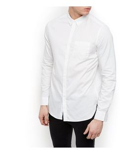 White Long Sleeve Oxford Shirt  | New Look