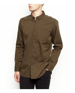 Khaki Long Sleeve Oxford Shirt  | New Look