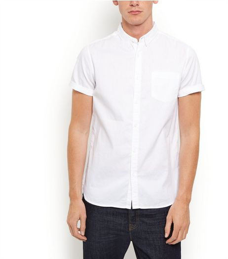 White Short Sleeve Oxford Shirt  | New Look