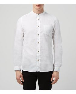 White Grandad Collar Long Sleeve Oxford Shirt  | New Look