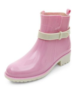 Pink Contrast Strap Ankle Wellies  | New Look
