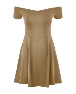 Khaki Bardot Neck Seam Panel Skater Dress | New Look