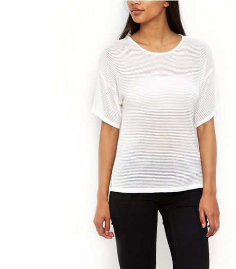 White Fine Knit Sheer Ribbed Kimono T-Shirt  | New Look