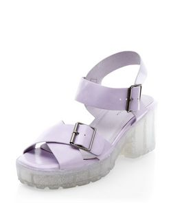 Lilac Cross Strap Jelly Heel Sandals  | New Look