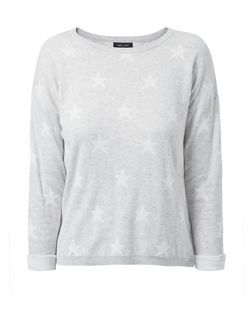 Grey Star Jacquard Roll Sleeve Jumper  | New Look