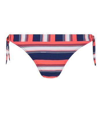 Blue Stripe Tie Side Bikini Bottoms