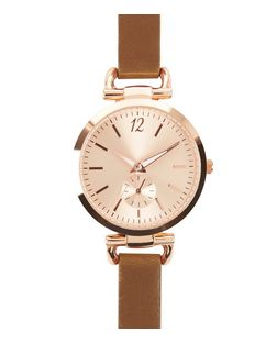 Brown Leather-Look Strap D-Ring Watch | New Look