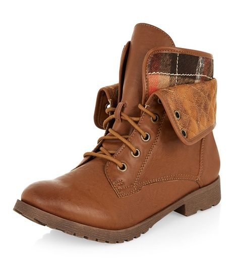 Tan Tartan Print Quilted Cuff Lace Up Ankle Boots  | New Look
