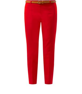 Red Belted Slim Leg Cropped Trousers